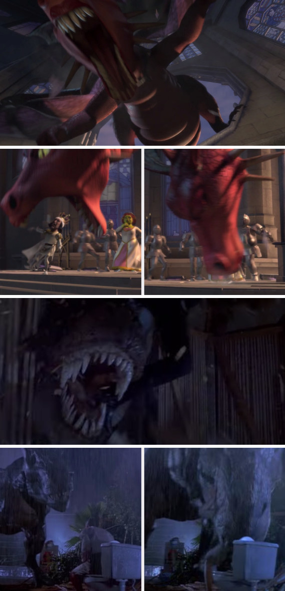 Dragon breaking through the church glass window and eating Lord Farquaad by the mouth; the t-rex in Jurassic Park scooping the lawyer by the mouth off the toilet and eating him