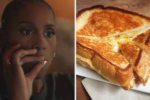 """side-by-side image of Issa Rae from """"Insecure"""" smoking weed and an image of a grilled cheese"""