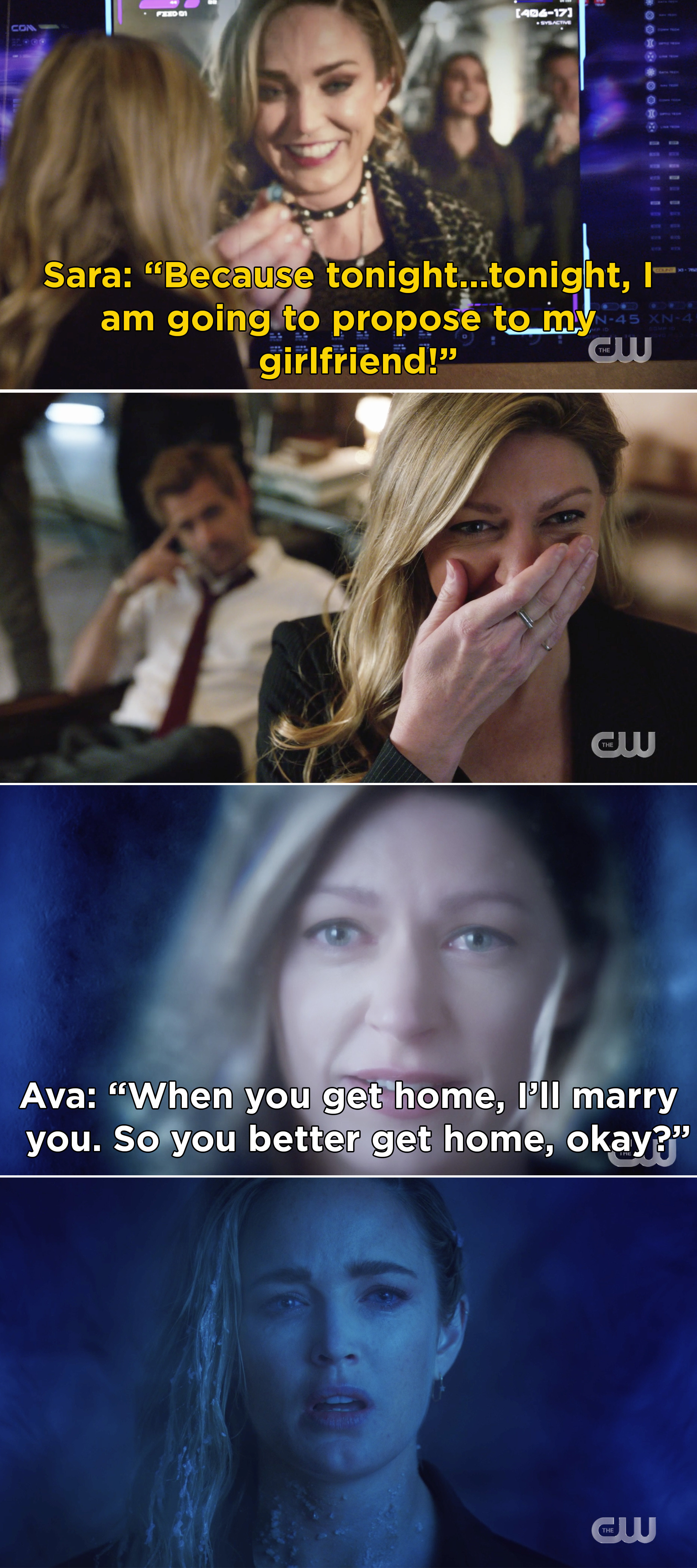 Sara saying she wants to propose to Ava in a video message, then Ava telling Sara she will marry her when she gets home