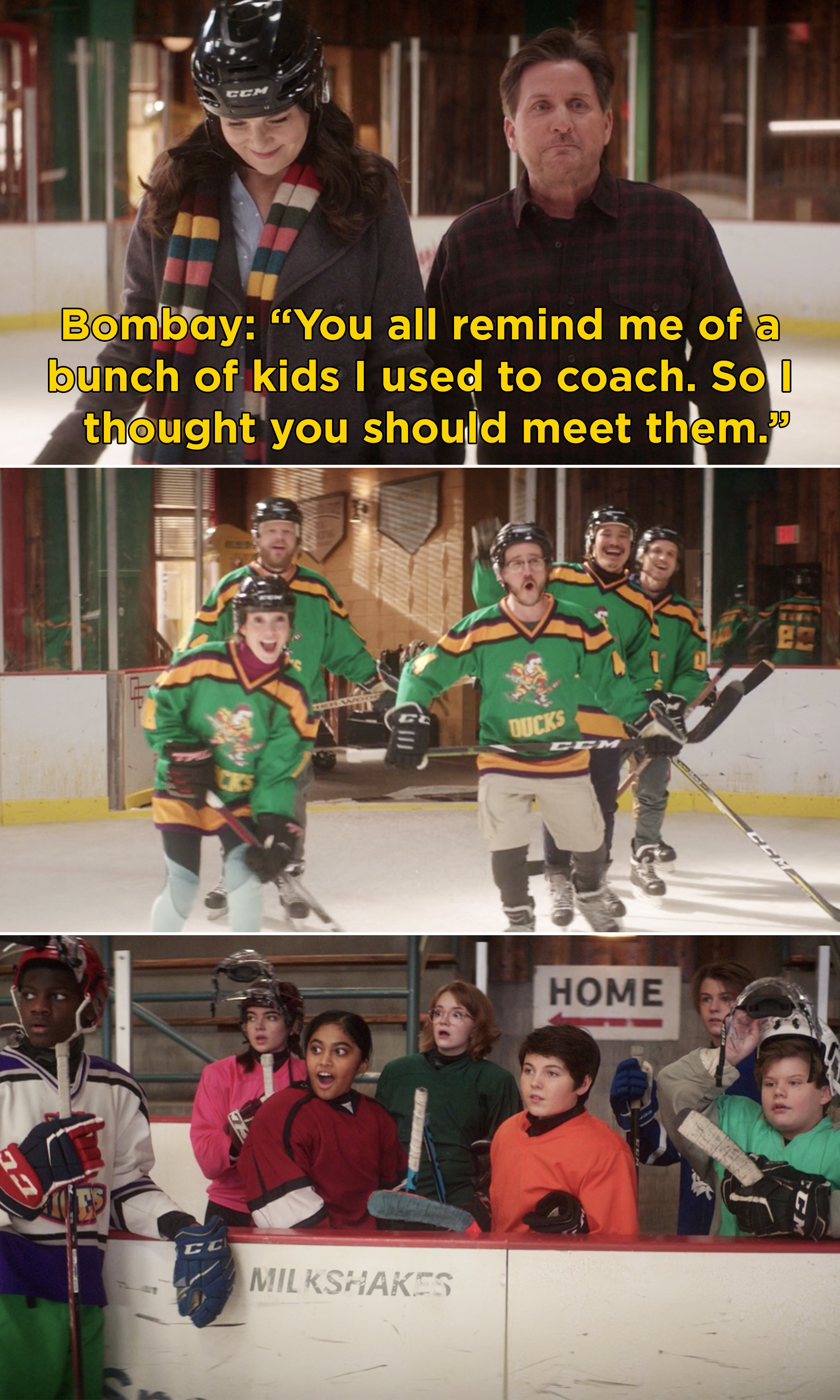 """Coach Bombay saying, """"You all remind me of a bunch of kids I used to coach. So I thought you should meet them"""""""