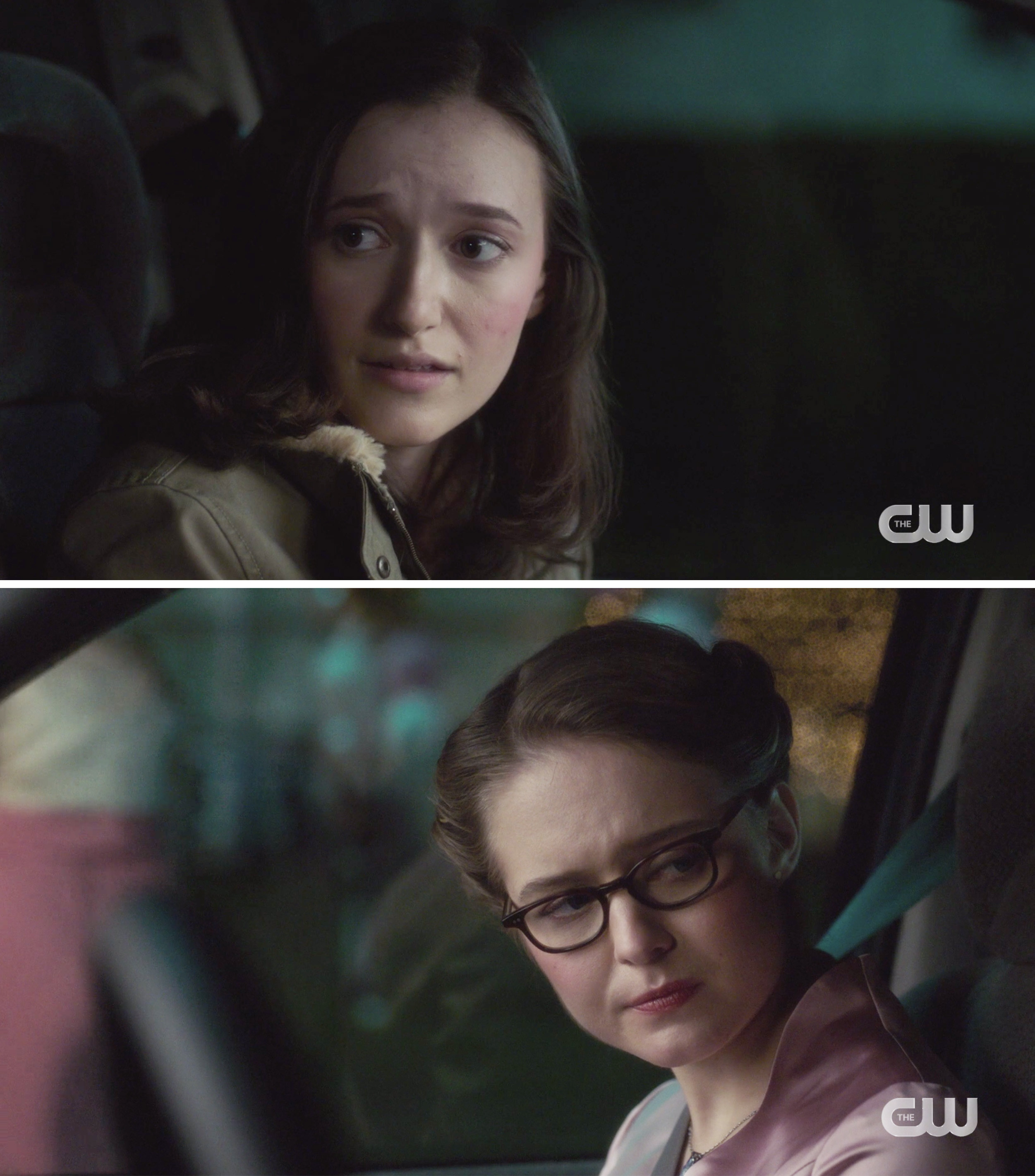 Young Alex and young Kara talking in a car