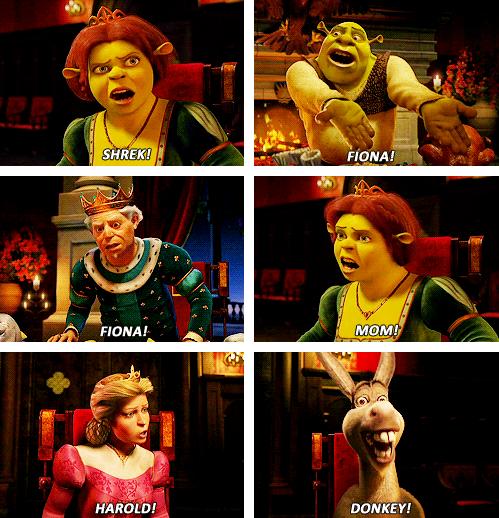 "The cast of ""Shrek 2"" yelling each other's names: ""Shrek! Fiona! Mom! Harold! Donkey!"""