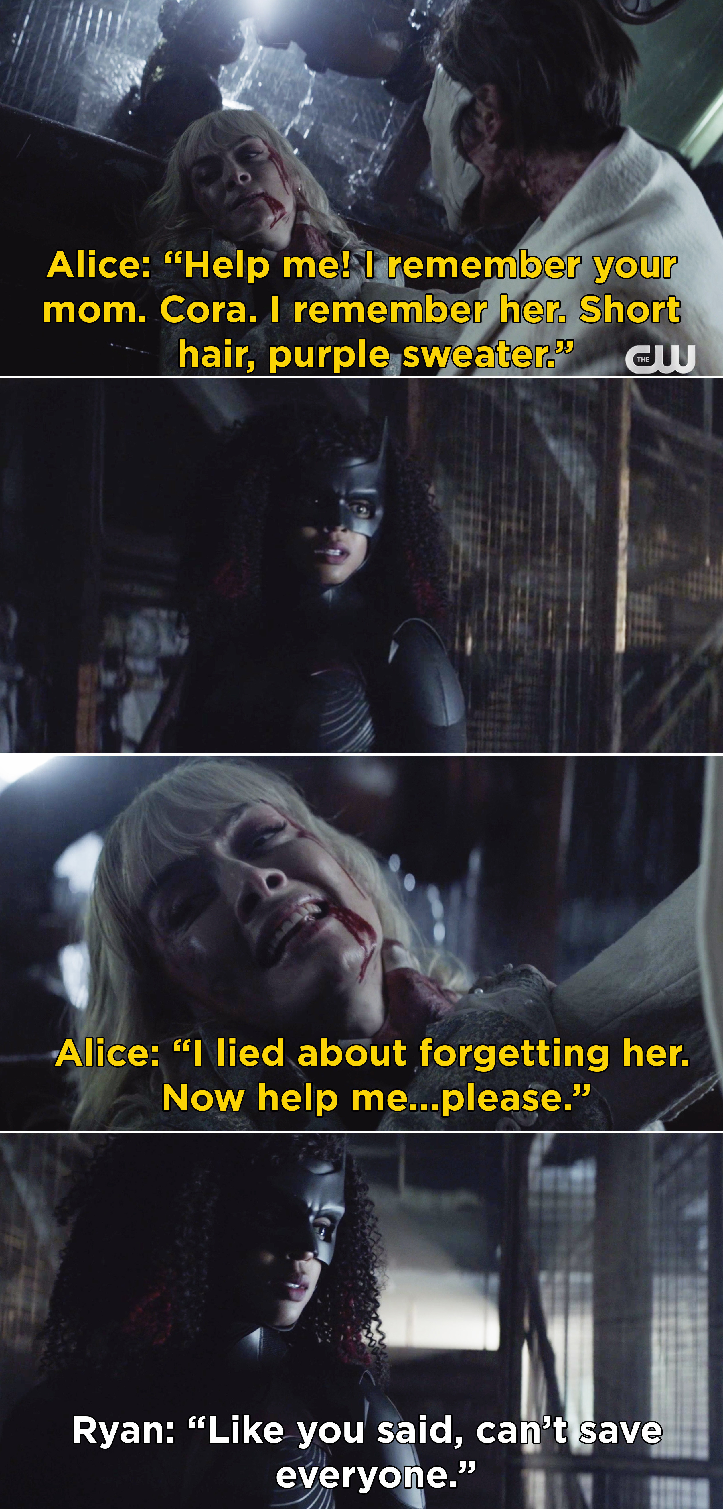 """Alice telling Ryan, """"I lied about forgetting her. Now help me...please"""" and Ryan saying, """"Like you said, can't save everyone"""""""