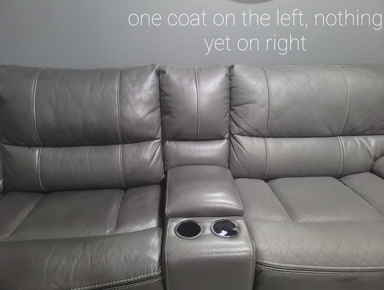 A before and after of a leather couch