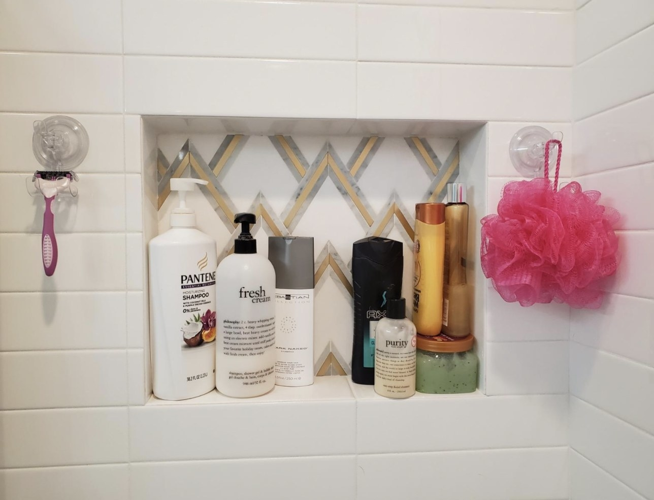 The suctions on a bathroom wall