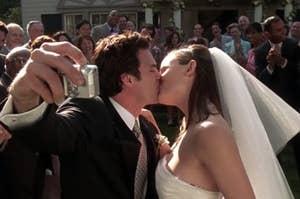 Matt and Jenna kissing on their wedding day