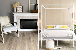 a reviewer's white electric fireplace and a white canopy bed