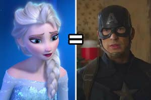 elsa on the left and captain america on the right
