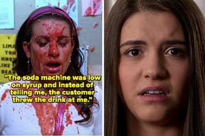 """Rachel Berry getting a slushie thrown at her in """"Glee"""" and Zoe Rivas looking disgusted in """"Degrassi: The Next Class"""""""
