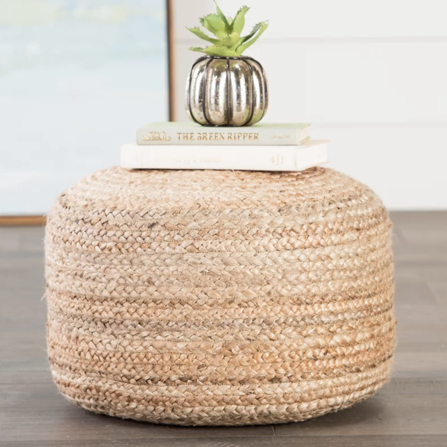 The pouf in a wicker material