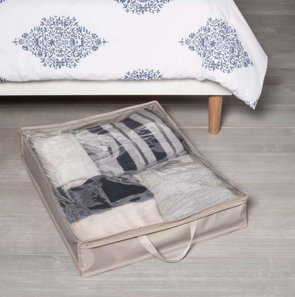 Gray under the bed bag with handle