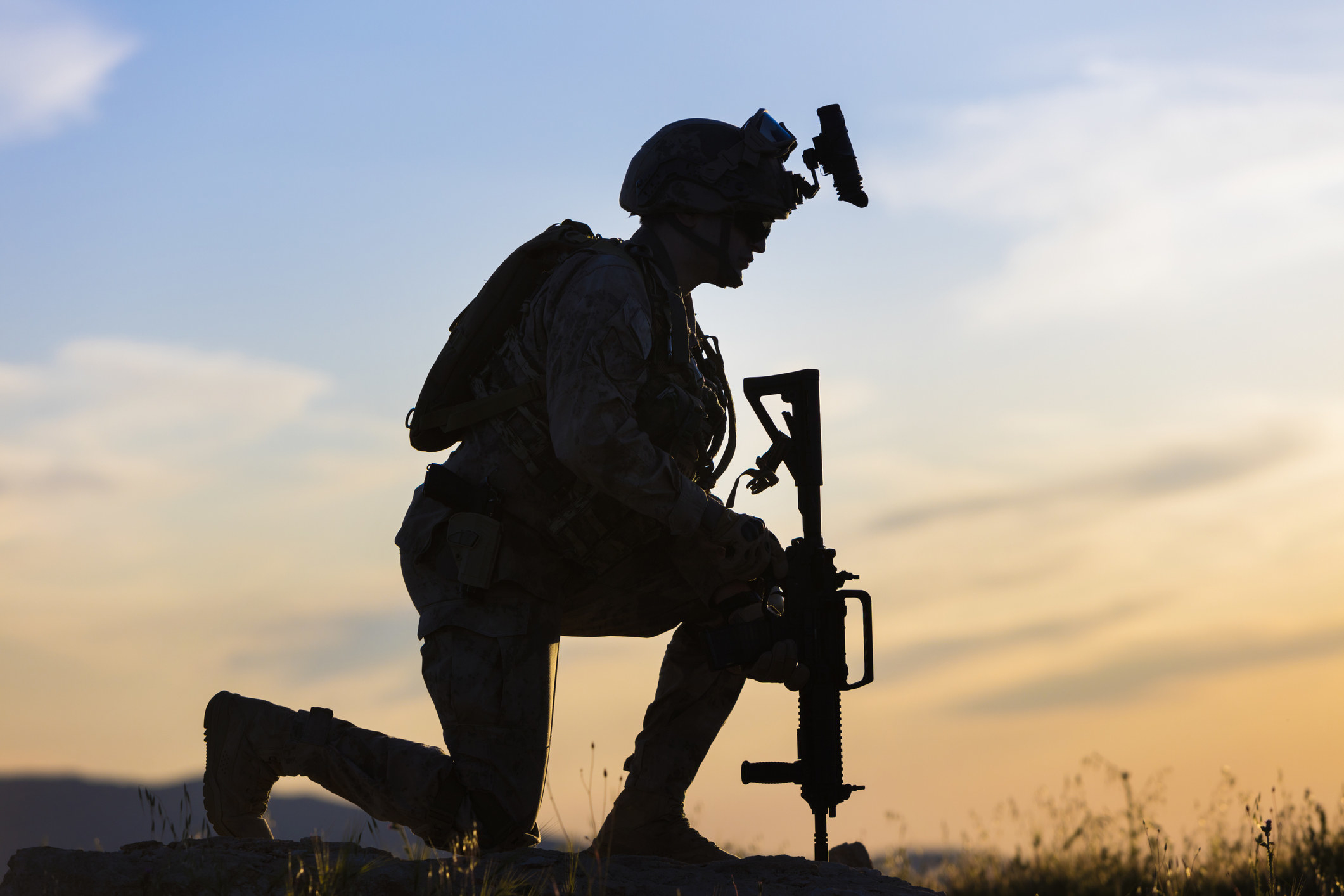 A kneeling soldier