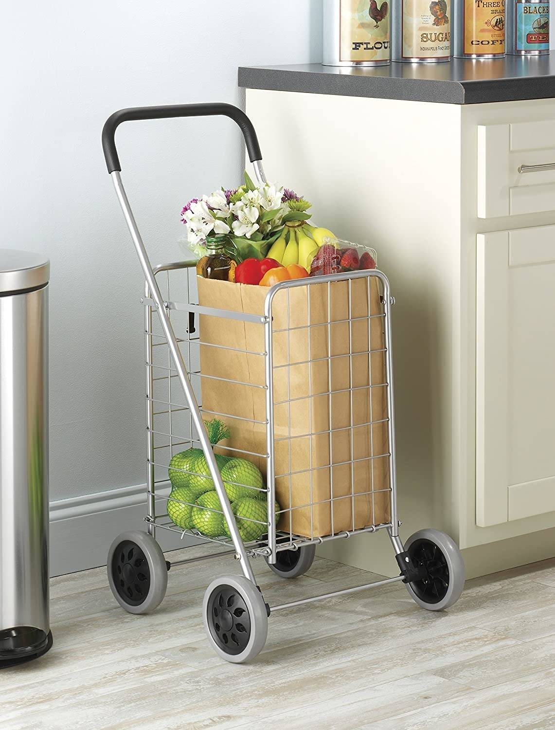 Metal cart with groceries inside