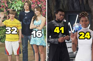 Jackson and Miley on Hannah Montana labeled 32 and 16, respectively, and T'Challa and Shuri in Black Panther labeled 41 and 24, respectively