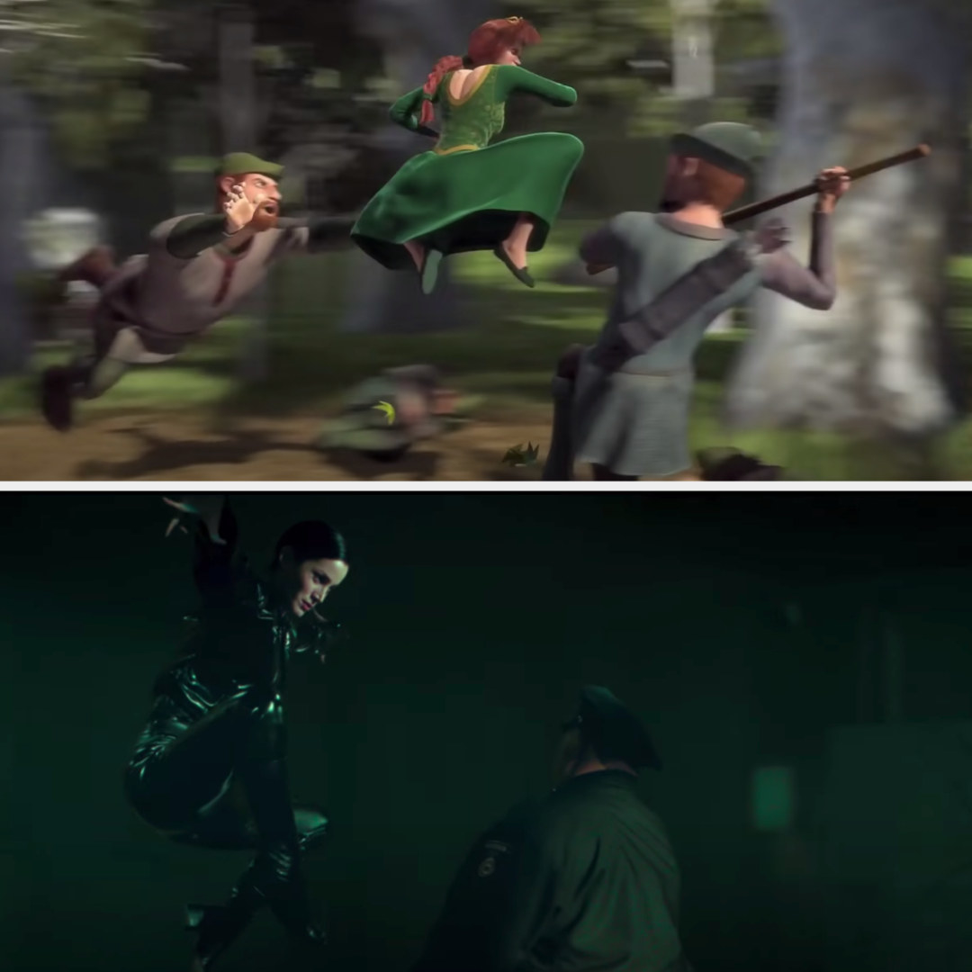Fiona jumping in the air in the middle of the woods; Trinity jumping in the air in front of the police officer
