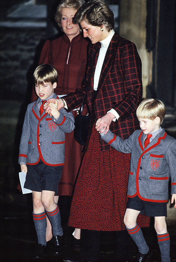 with his brother and princess diana