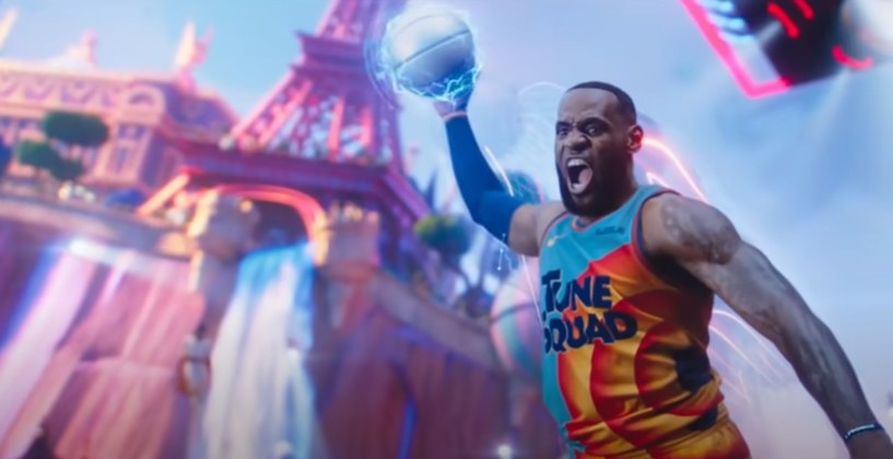 LeBron James dunking an electric basketball in a Tune Squad uniform