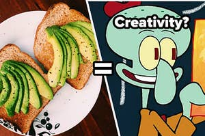 Two slices of wheat bread with sliced avocado on it and Squidward Tentacles hold up a self portrait he painted.