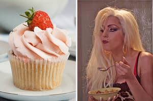 """On the left, a vanilla cupcake with strawberry frosting and a strawberry on top, and on the right, Lady Gaga eating a bowl of cereal in an """"SNL"""" sketch"""