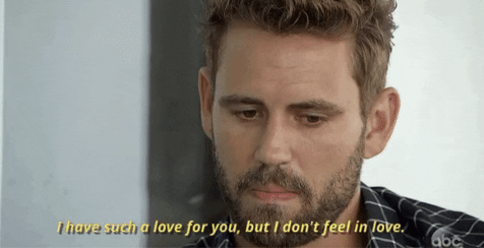 """A man on the bachelor saying, """"i have such love for you, but i don't feel in love"""""""