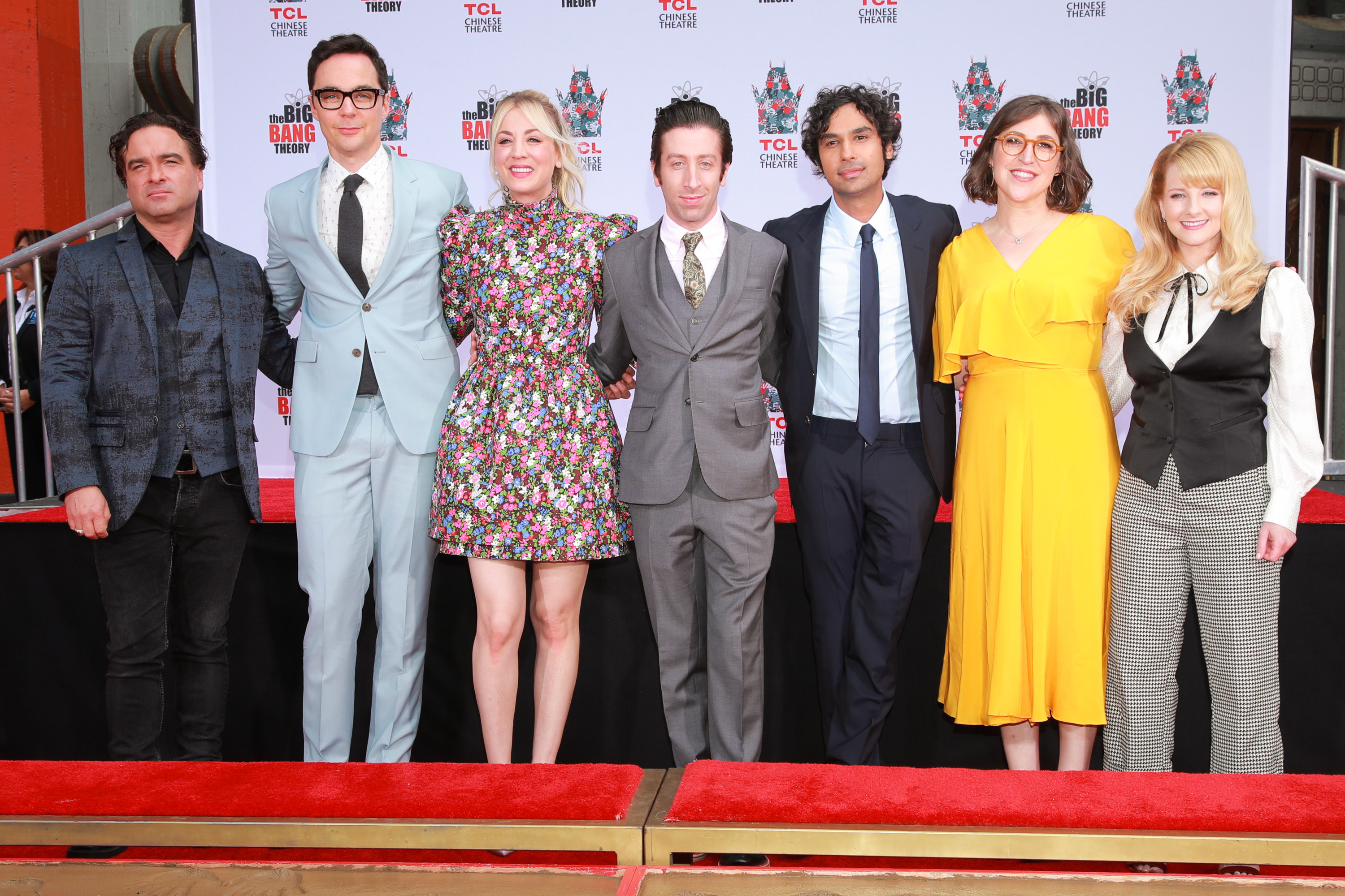 The cast poses after a hand-print ceremony in Hollywood