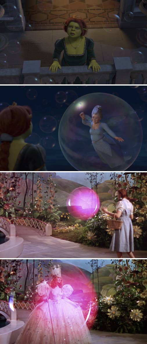 Fiona being greeted by Fairy Godmother in a bubble on her balcony; Dorothy being greeted by Glinda the Good Witch in a pink bubble in Oz