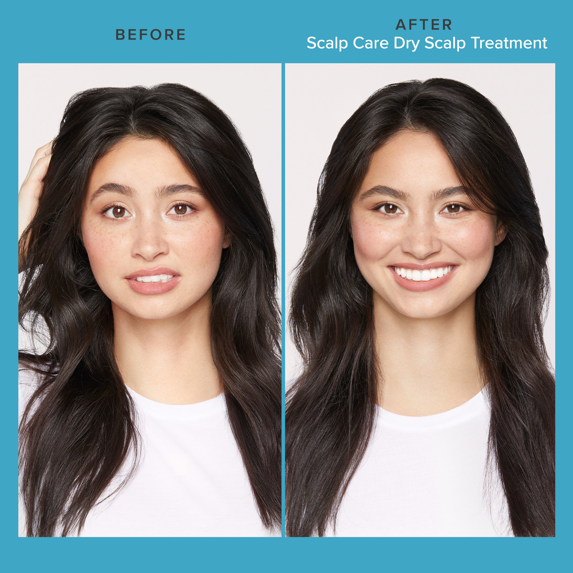 a person with dry hair before the treatment, and a person with smooth hair after the treatment
