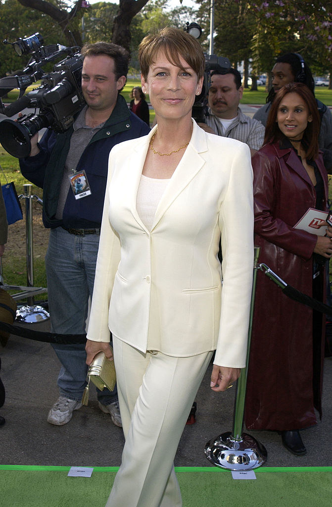 in a white suit