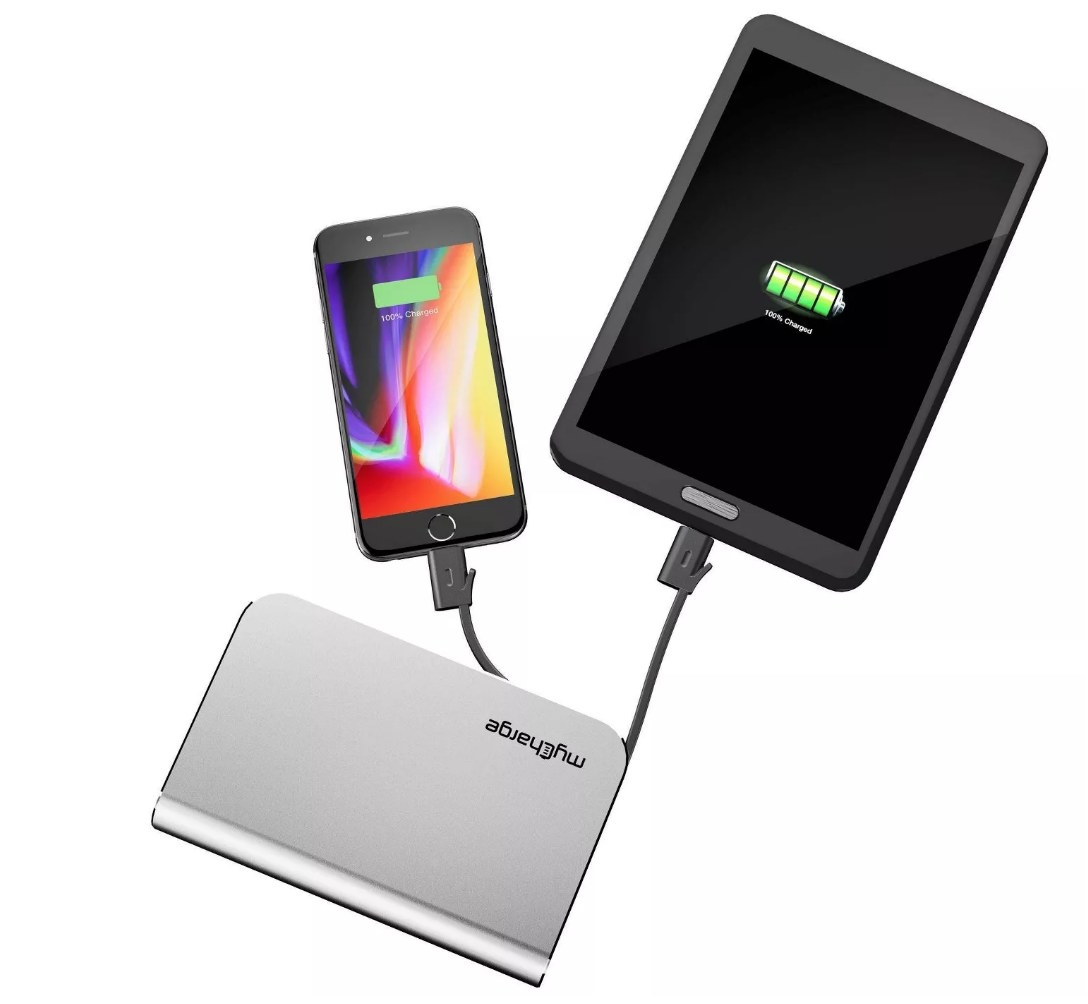 Portable charger connected to phone and tablet
