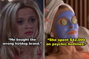 Side-by-side of Elle Woods crying and a woman in a face mask