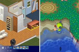 Screencaps from The Sims and the original Animal Crossing game