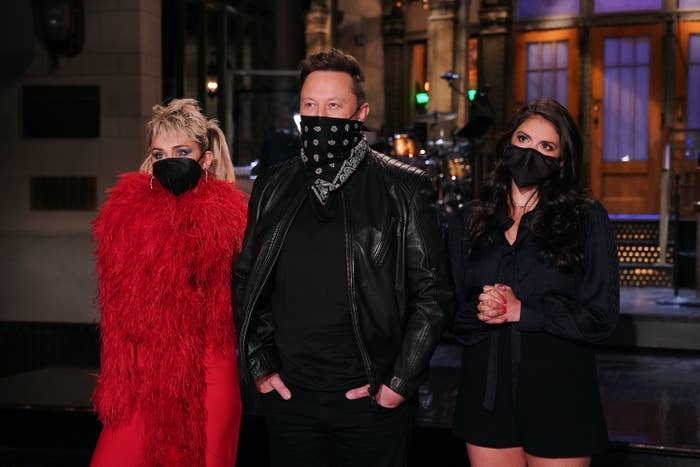 Miley Cyrus, Elon Musk, and Cecily Strong on Saturday Night Live