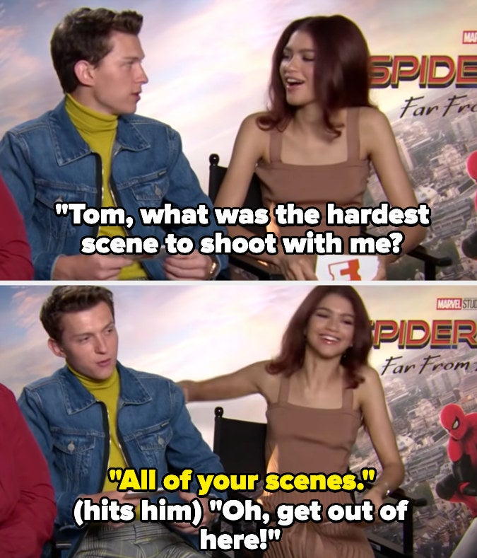 """Zendaya asks about Tom's hardest scene to shoot with her, and he jokes """"all of your scenes"""""""