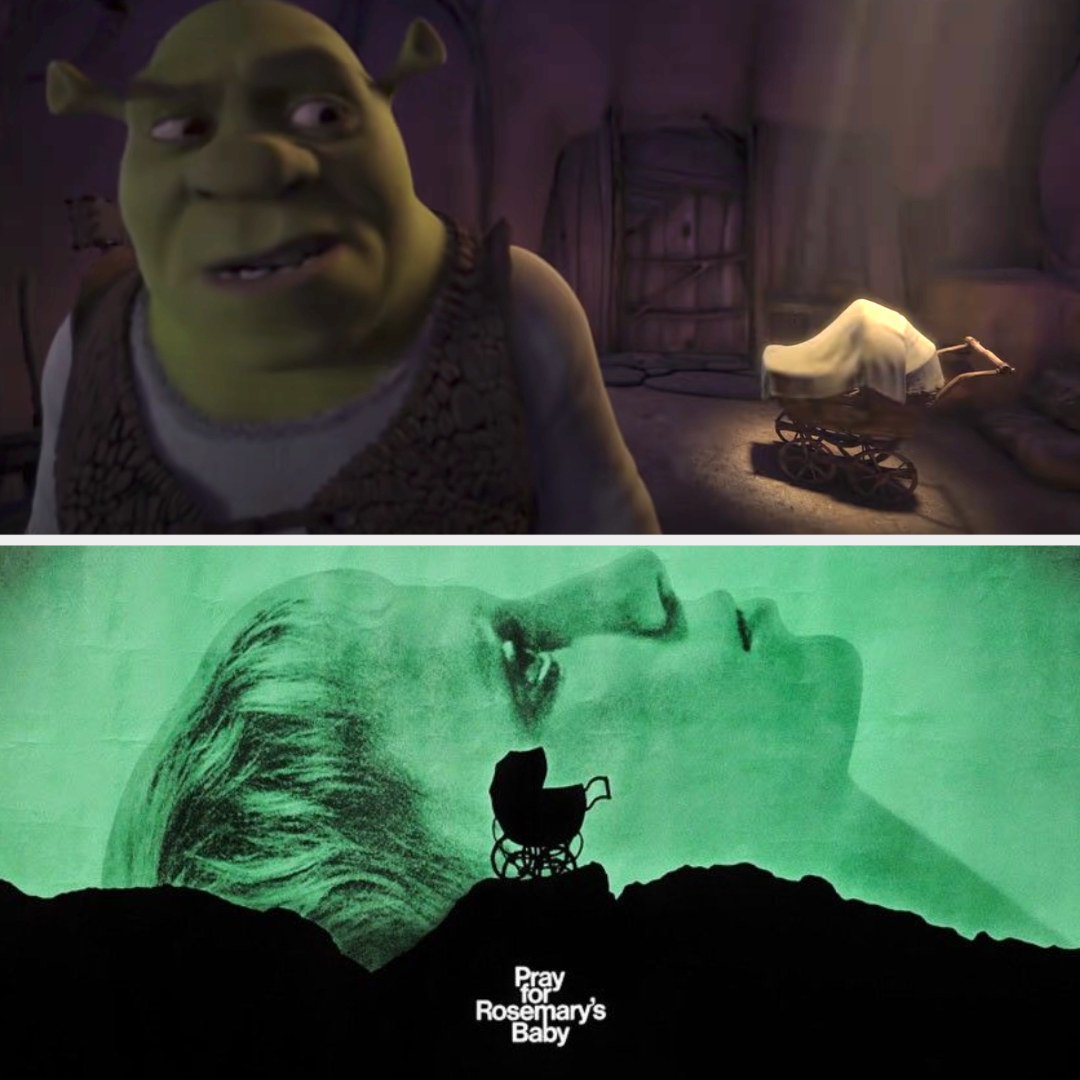 """Shrek creeped out by the mysterious stroller that appeared in his swamp; the movie poster for """"Rosemary's Baby"""""""