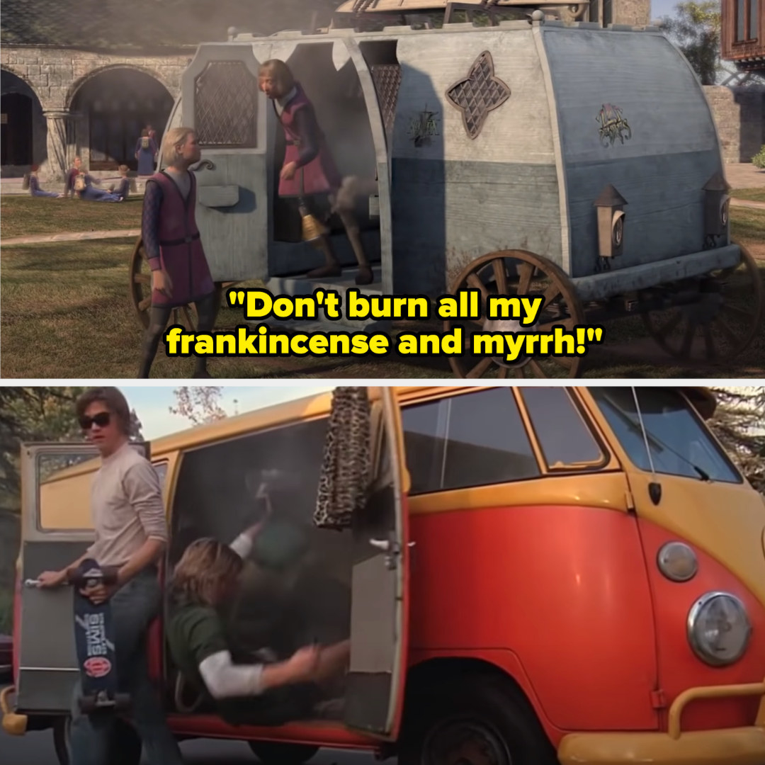 """Students from """"Shrek the Third"""" saying: """"Don't burn all my frankincense and myrrh!"""""""