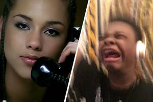 A close up shot of singer Alicia Keys while she talks on a landline phone and a young teen screams as he listens to music.