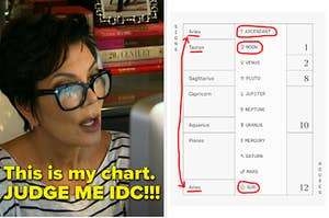 Kris Jenner looking shocked at a Co—Star astrological chart