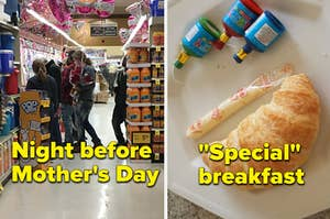 People shop for mother's day cards the night before mothers day