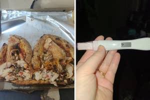 销毁的披萨送达和妊娠试验,显示问号