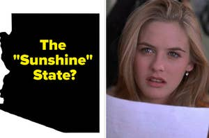"""雪儿从一副茫然困惑的样子和亚利桑那州的轮廓上写着""""阳光之州"""""""