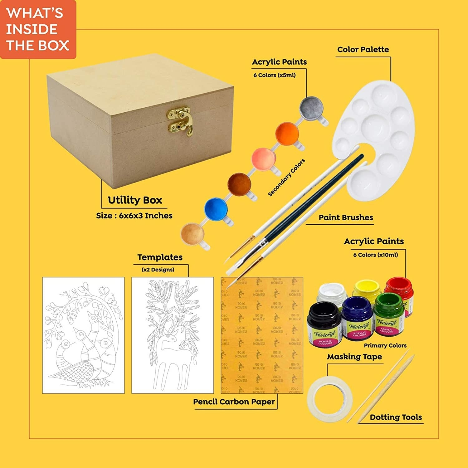 Contents of the DIY kit. It contains a utility box, acrylic paint, colour palettes, brushes, dotting tools, templates, carbon paper, and masking tape.