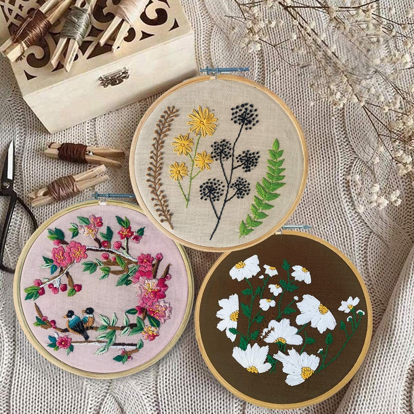 An embroidery kit with 4 sets