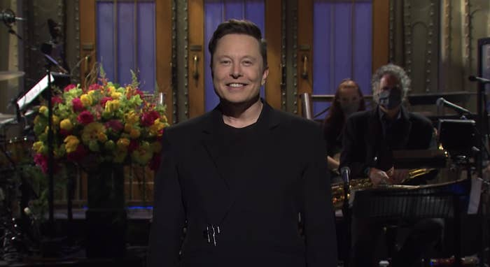 Elon Musk giving the opening monologue as SNL host