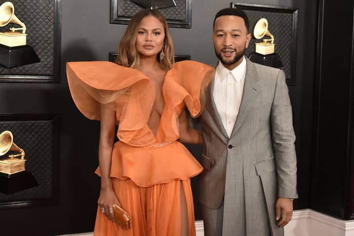 Chrissy Teigen and John Legend at the 2020 Grammys
