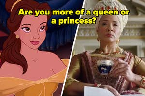 """Belle is on the left with Bridgerton Queen on the right labeled, """"Are you more of a queen or a princess?"""""""