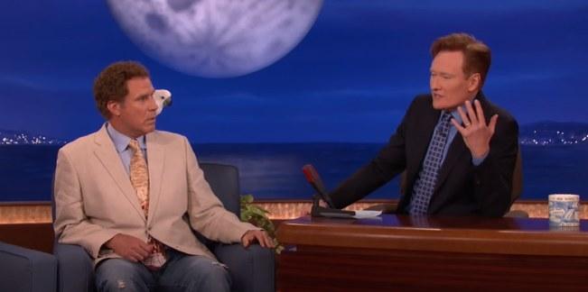 Conan talking Will Ferrell, who has a bird on his shoulder