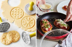 lemon cookie stamps and hands making chicken parm in a pan