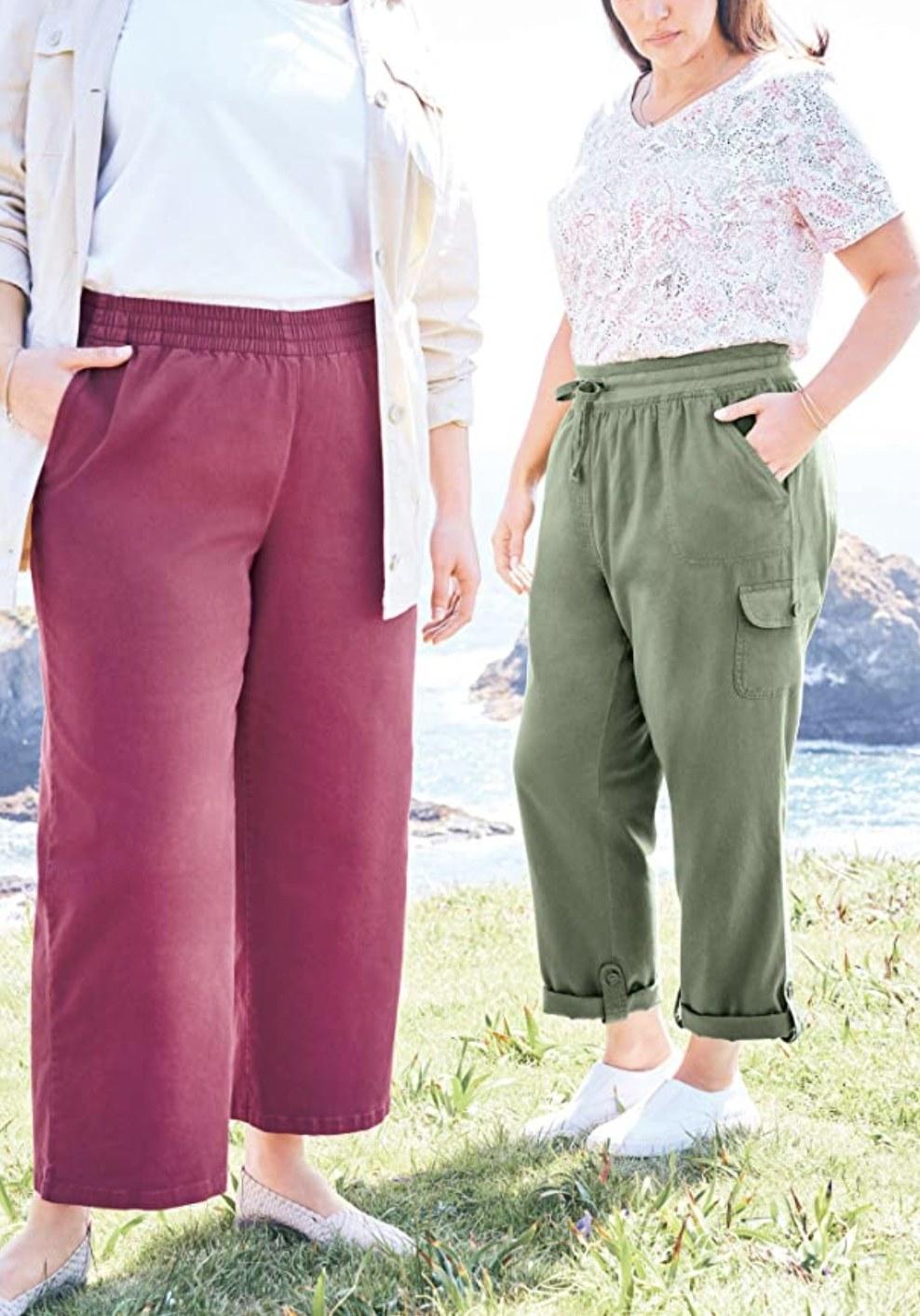 two models wearing drawstring cargo pants