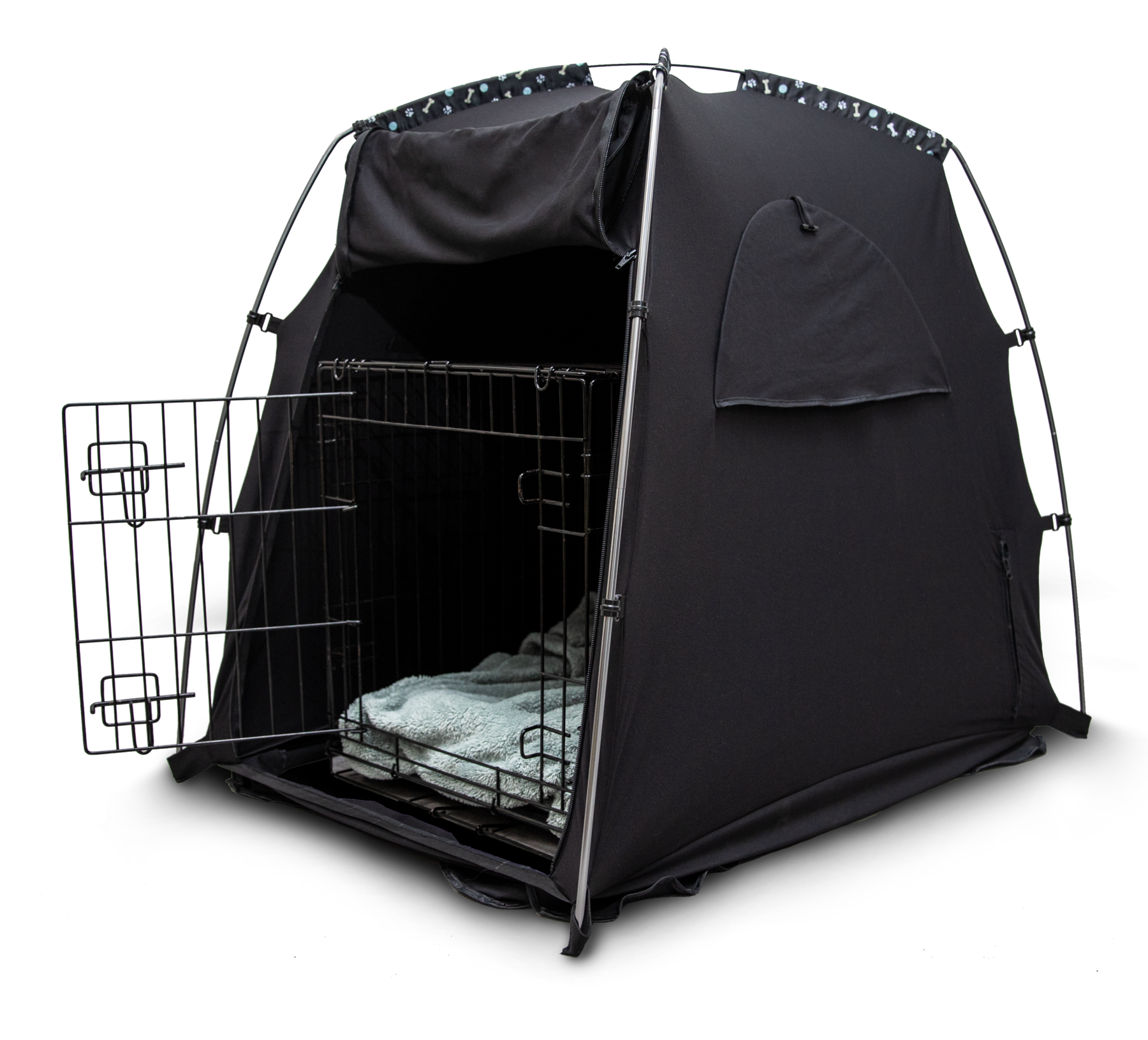 the SlumberPod pet over a crate