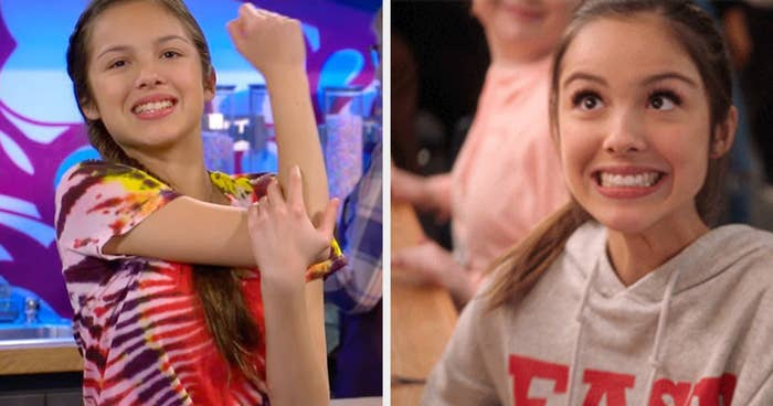 a young Olivia in Bizaardvark beside her making a funny face in the new high school music series
